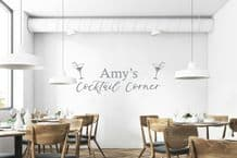 """PERSONALISED """"Cocktail Corner"""" Pub Home Drinking Sticker Decal Decor Transfer"""